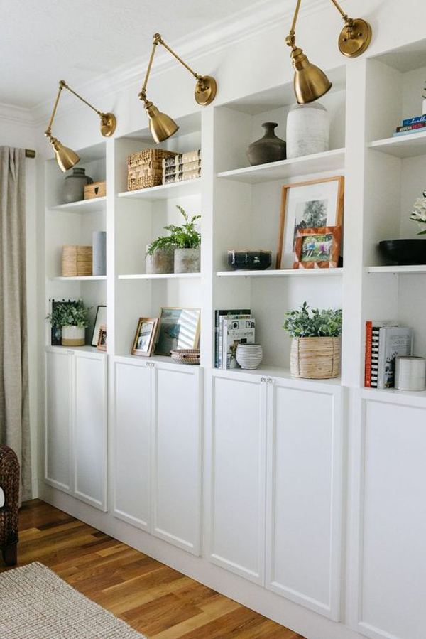 ikea-billy-bookcase-display-with-gold-lamps