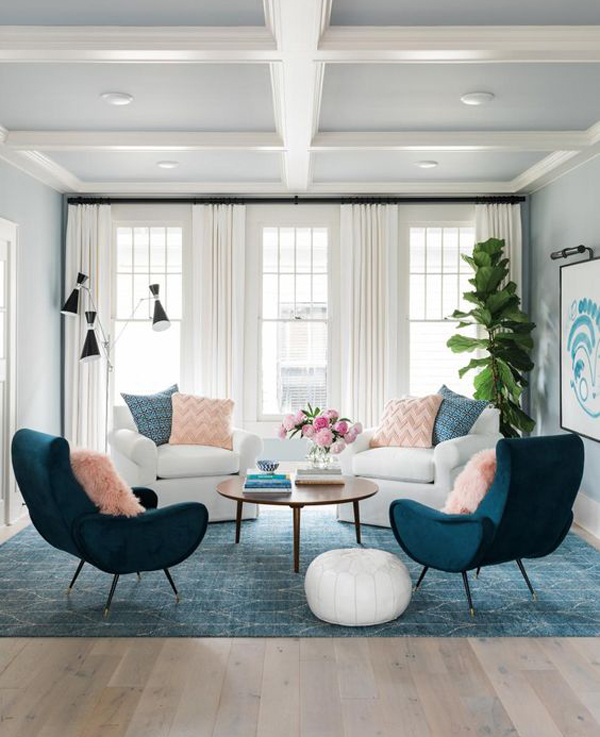 mid-century-living-room-with-blue-and-pink-color