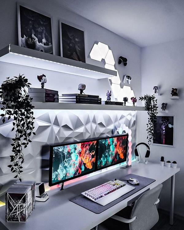 minimalist-gaming-desk-setup-with-rack-wall