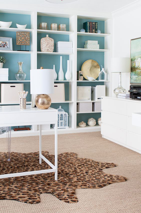 white-and-blue-ikea-billy-home-office-hack