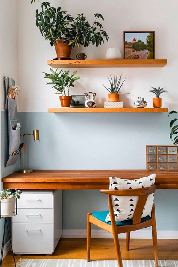 wood-home-office-with-blue-accent-wall