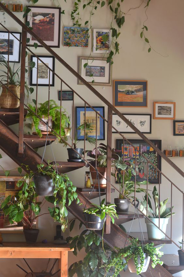 indoor-staircase-plants-with-gallery-wall