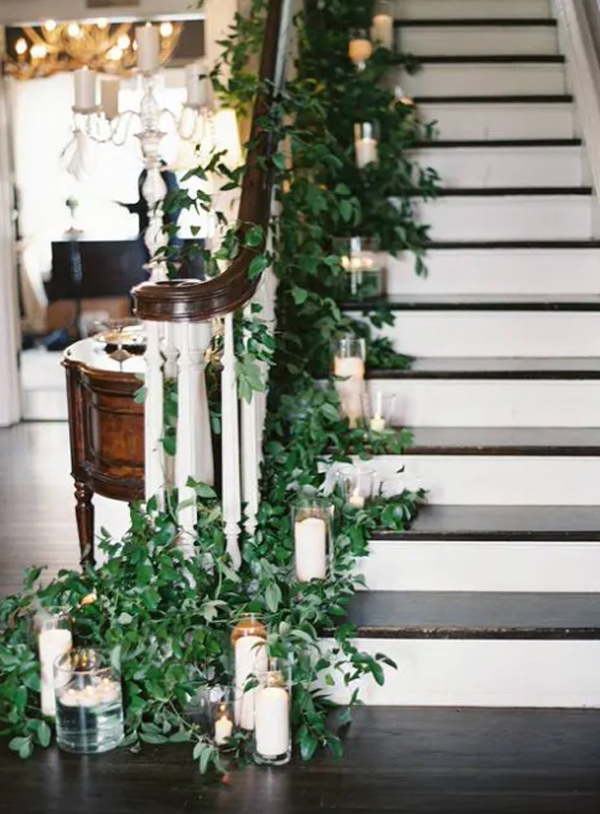 romantic-staircae-plants-with-candle-light