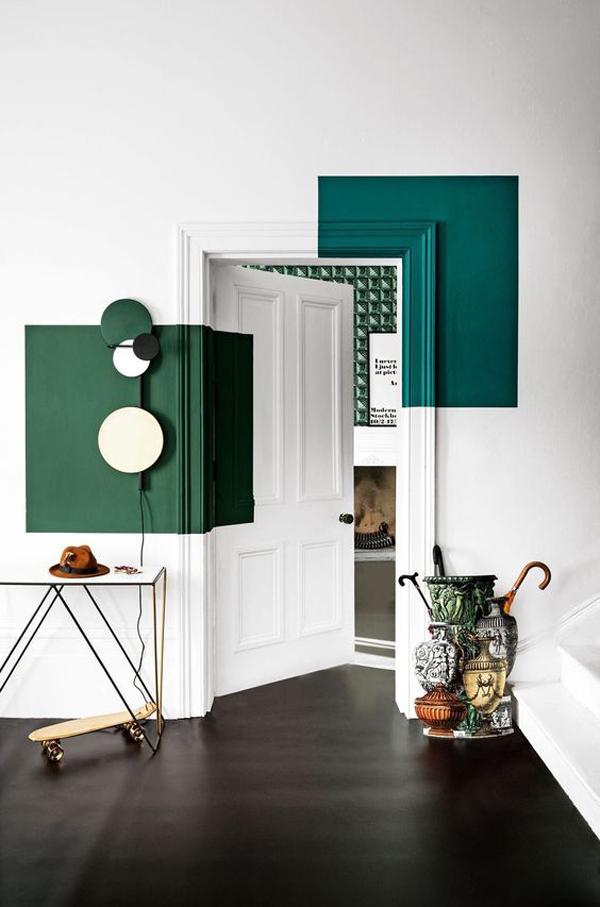 white-and-dark-green-door-color-blocking