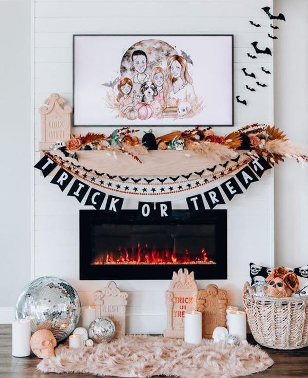 boho-halloween-mantels-with-rug