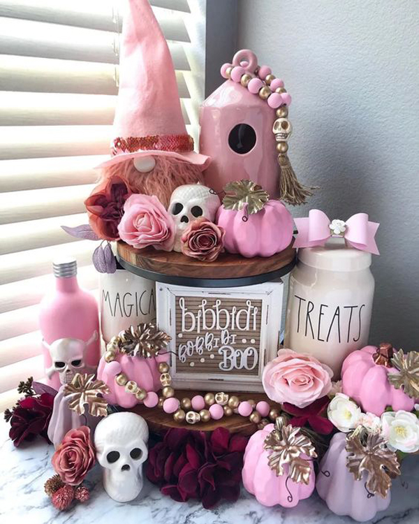 colorful-halloween-display-ideas-with-pink-accents