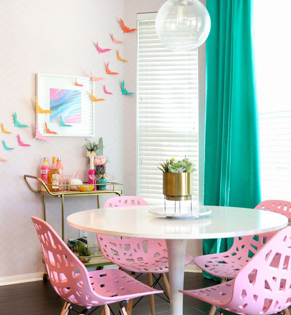 diy-colorful-paper-bat-decor-with-pink-dining-room
