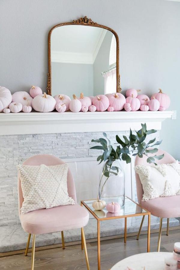 elegant-pink-pumpkin-for-halloween-mantel