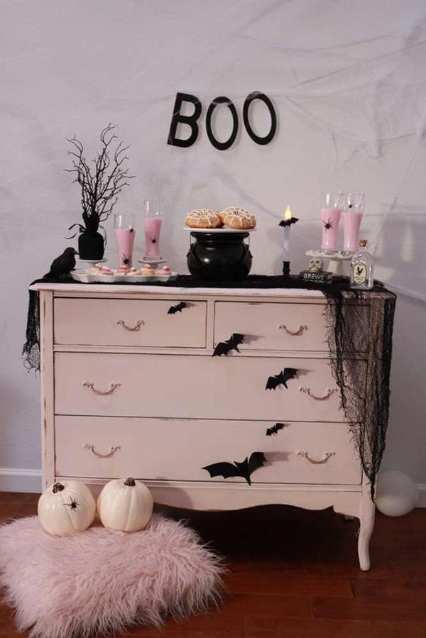 pink-halloween-cabinet-display