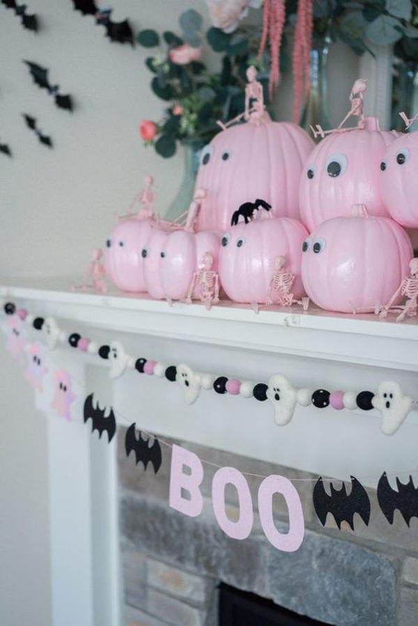 pink-pumpkin-fireplace-ideas-for-halloween